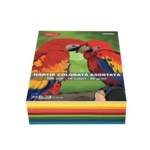 Hartie colorata, A4, 80g/mp, 10 culori, 500 coli, Daco