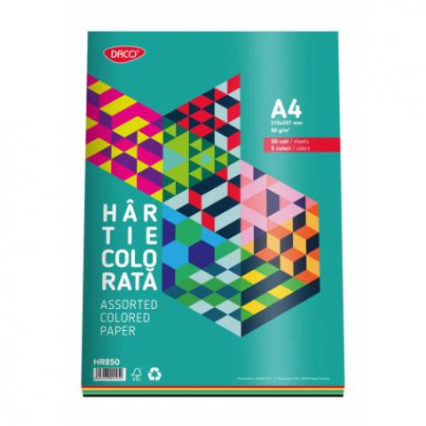 Hartie colorata, A4, 80g/mp, 5 culori, 50 coli, Daco