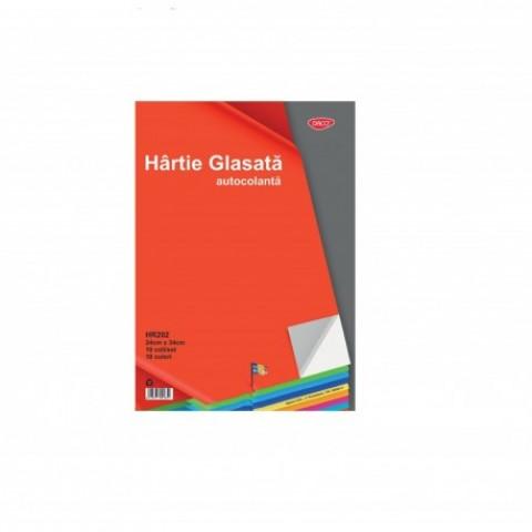 Hartie glasata, autocolanta, 24x34cm, 10 file/set, Daco