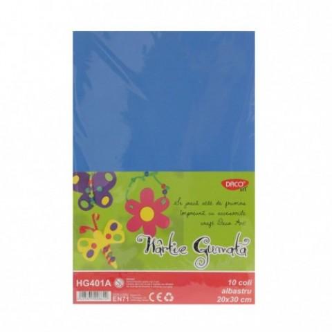 Hartie gumata, 20x30 cm, 10 coli, albastru, Daco
