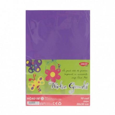 Hartie gumata, 20x30 cm, 10 coli, mov, Daco