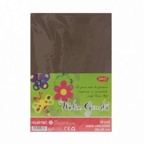 Hartie gumata, 20x30 cm, 10 coli, maro, Daco