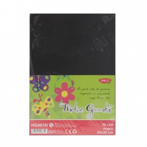 Hartie gumata, 20x30 cm, 10 coli, negru, Daco