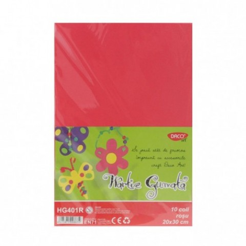Hartie gumata, 20x30 cm, 10 coli, rosu, Daco