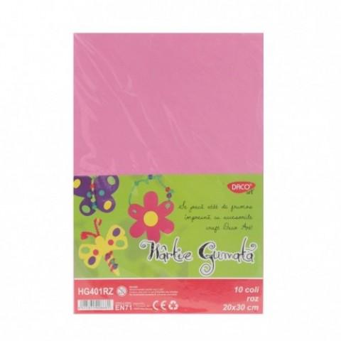Hartie gumata, 20x30 cm, 10 coli, roz, Daco