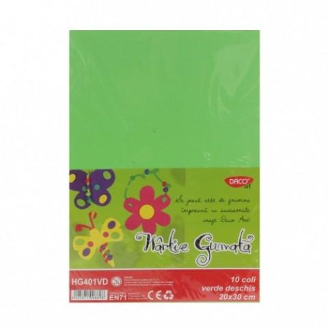 Hartie gumata, 20x30 cm, 10 coli, verde deschis, Daco