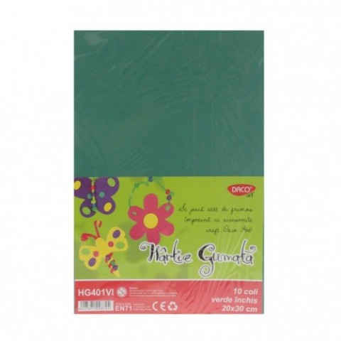 Hartie gumata, 20x30 cm, 10 coli, verde inchis, Daco