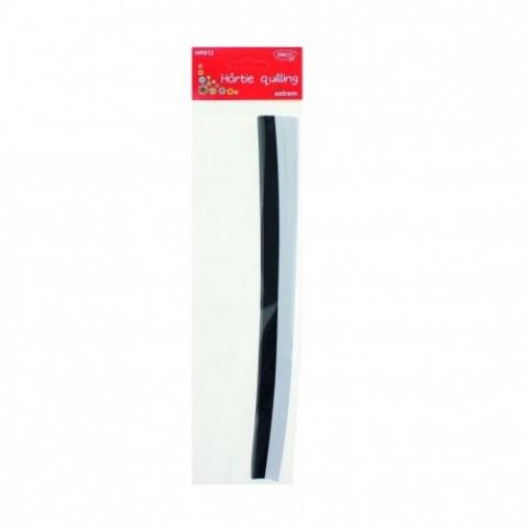 Hartie quilling, 30x0.5cm, 200/set, alb si negru, Daco