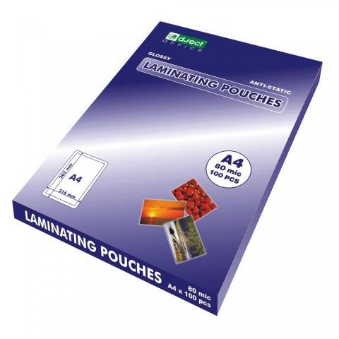 Folie laminare A4, 80 microni, 100coli/top, D.rect