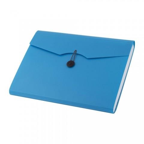 Mapa plastic cu elastic 12 compartimente, albastra, D.rect