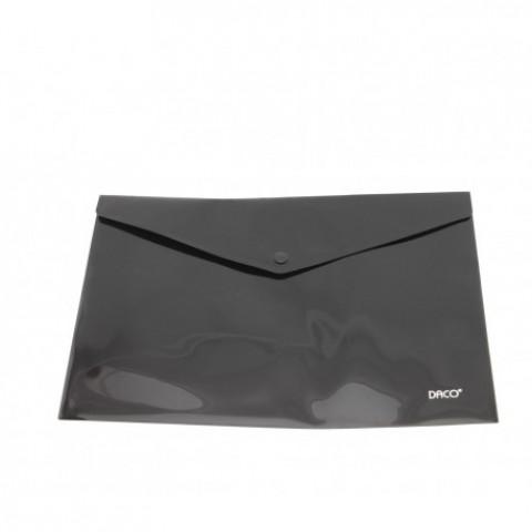 Mapa plastic, plic cu capsa, A4, negru, Daco