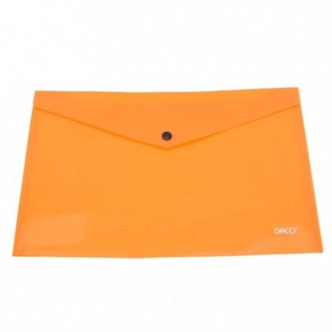 Mapa plastic, plic cu capsa, A4, portocaliu, Daco