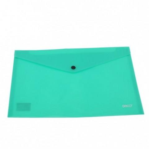 Mapa plastic, plic cu capsa, A4, verde, Daco
