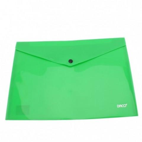 Mapa plastic, plic cu capsa, A4, verde deschis, Daco