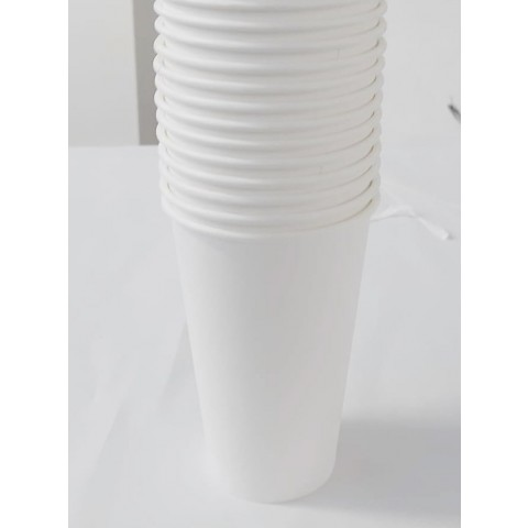 Set 50 pahare de carton, albe, 355 ml (12 oz)