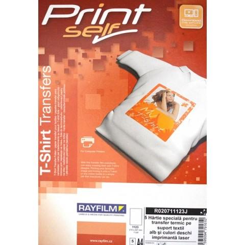 Hartie transfer termic pentru material textil de culoare deschisa, A4, pt laser, 5 coli