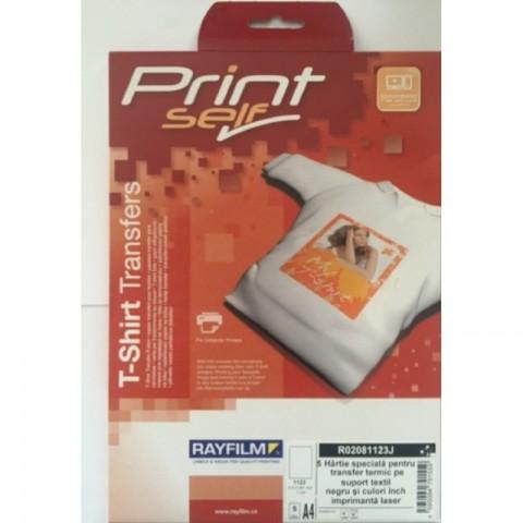 Hartie transfer termic pentru textile de culori inchise, A4, pt laser, 5 coli
