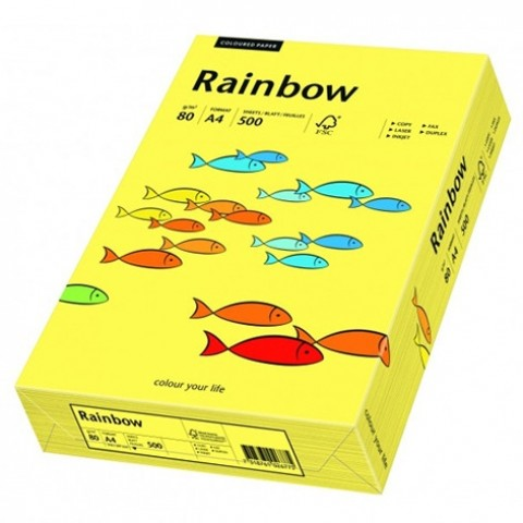 Hartie colorata, Rainbow, Galben pal, A4, 80 g/mp