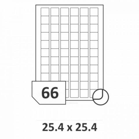 Etichete autoadezive multifuncţionale, 66 buc./A4, dimensiune 25.4x25.4 mm