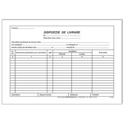 Dispozitie Livrare Autocopiativa, A5, 2 Exemplare