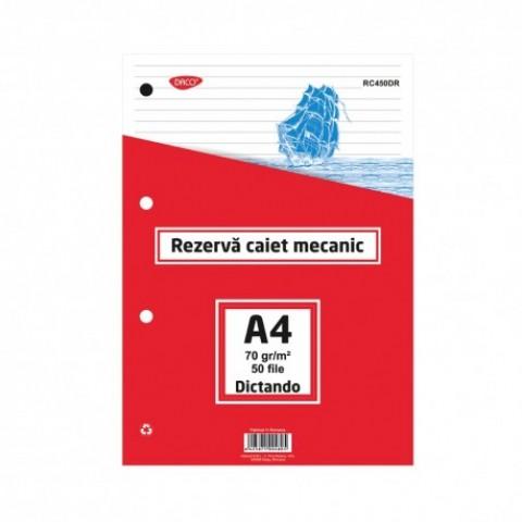Rezerva caiet mecanic, A4, dictando, 50 file, Daco