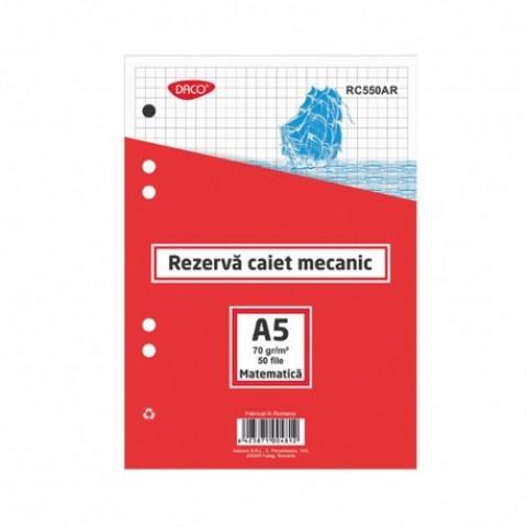 Rezerva caiet mecanic, A5, matematica, 50 file, Daco