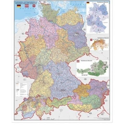 Harta cu coduri postale, Germania, Austria, Elvetia