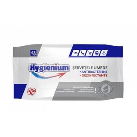 Servetele umede antibacteriene dezinfectante, 48/set, Hygienium