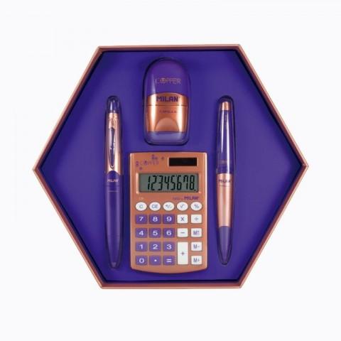 Set cadou calculator, copper albastru, Milan