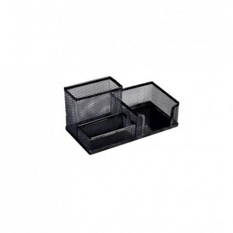 Suport birou, 3 compartimente, negru, Ecada