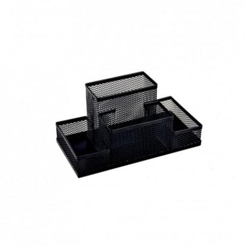 Suport birou, 4 compartimente, negru, Ecada