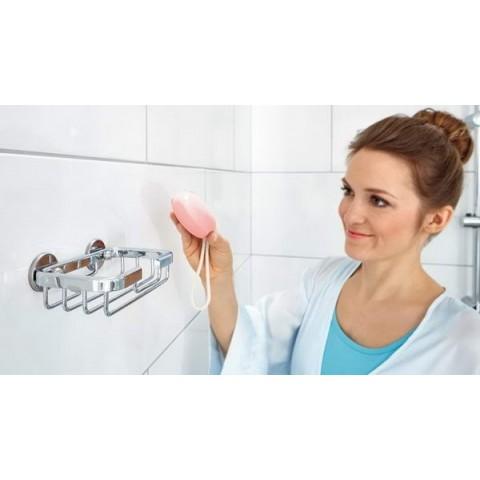 Savonieră grătar autoadezivă de perete tesa® Aluxx, aluminiu cromat.