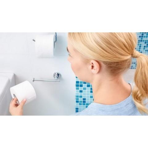Suport autoadeziv pentru rezervă de hârtie igienică tesa® Luup, metal cromat