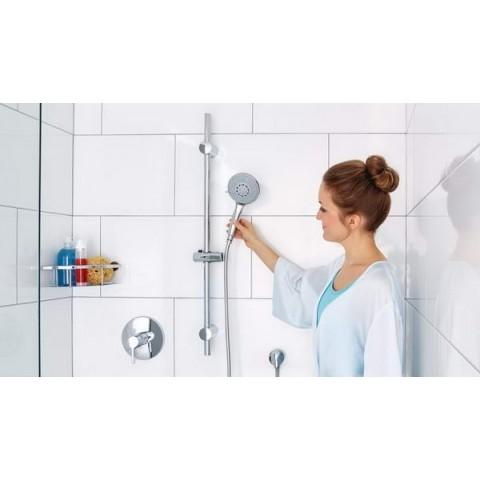 Set autoadeziv reglabil de duș tesa® Spaa, cu bară și pară de duș, elemente de metal & plastic cromat