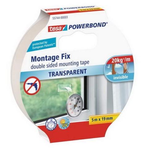 Banda dublu adeziva Tesa® Powerbond transparentă 5 m X 19 mm