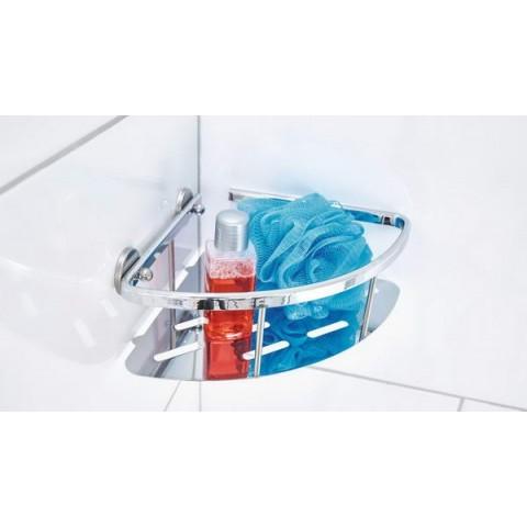 Poliță autoadezivă de colț pentru baie tesa® Aluxx, din aluminiu cromat.