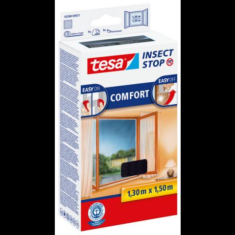"""Plasă anti insecte cu """"arici"""" Comfort pentru ferestre, neagră, Tesa, 1.30 m x 1.50 m"""