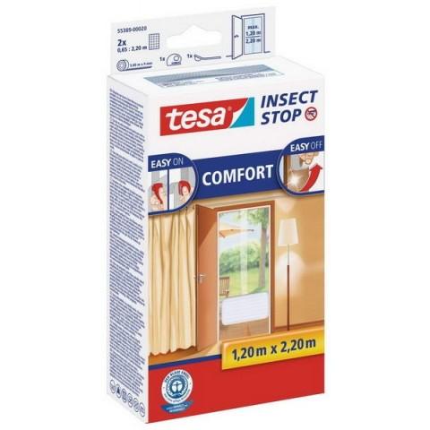 """Plasă anti insecte cu """"arici"""" Comfort pentru uși, albă, Tesa, 2 x 0.65 m x 2.20 m"""