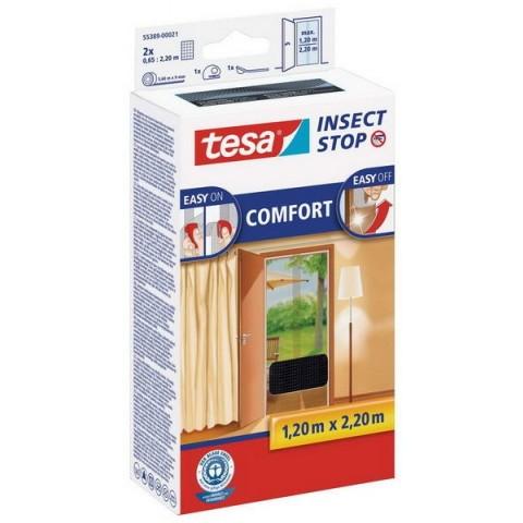 """Plasă anti insecte cu """"arici"""" Comfort pentru uși, neagră, Tesa, 2 x 0.65 m x 2.20 m"""