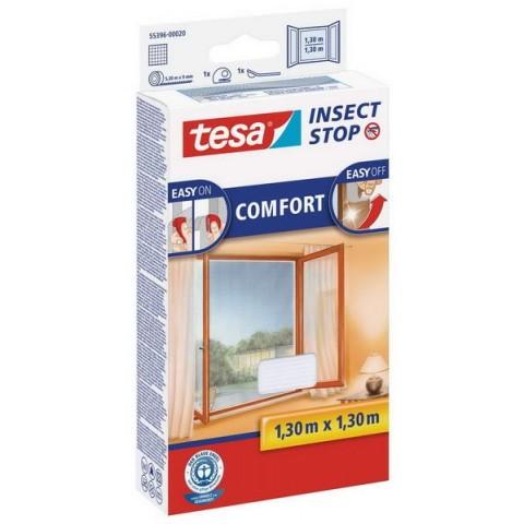 """Plasă anti insecte cu """"arici"""" Comfort pentru ferestre, albă, Tesa, 1.30 m x 1.30 m"""