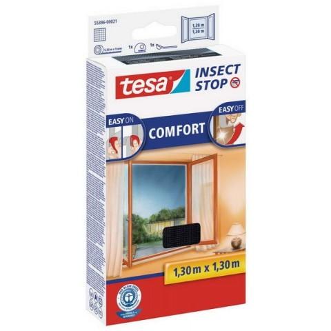 """Plasă anti insecte cu """"arici"""" Comfort pentru ferestre, neagră, Tesa, 1.30 m x 1.30 m"""