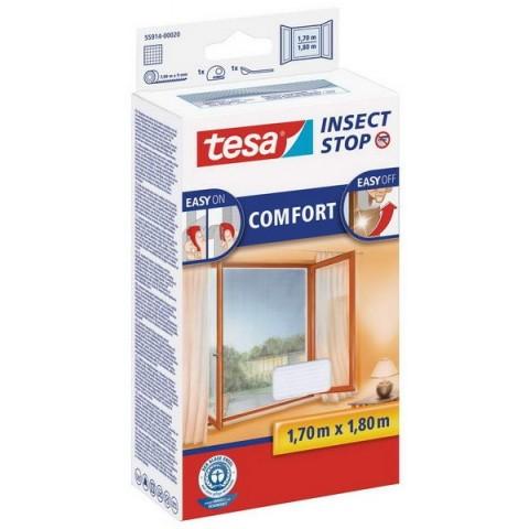"""Plasă anti insecte cu """"arici"""", Comfort pentru ferestre, albă, Tesa, 1.70 m x 1.80 m"""