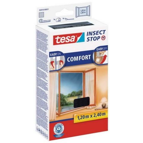 """Plasă anti insecte cu """"arici"""", Comfort pentru ferestre, neagră, Tesa, 1.20 m x 2.40 m"""