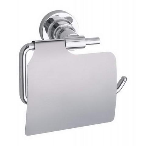 Suport autoadeziv pentru hârtie igienică cu capac tesa® Luup, metal cromat