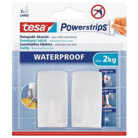Cârlige autoadezive plastic rezistente la apa, albe,Tesa