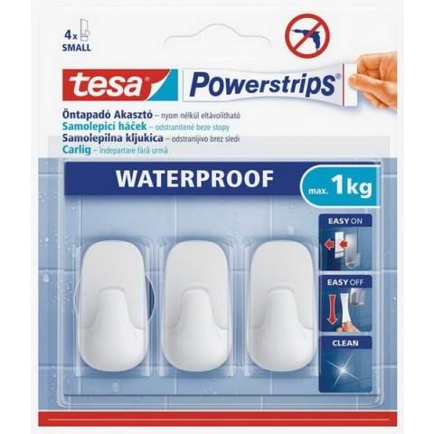 Cârlig din plastic alb mic, rezistent la apă,Tesa