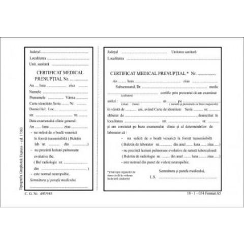 Certificat medical prenupţial, A5