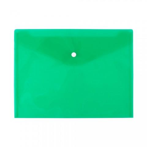 Mapa plastic cu buton A4 transparent verde, D.rect