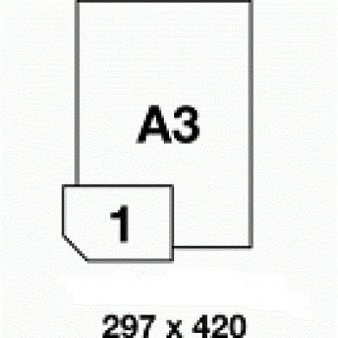Etichete PET albe luciose, pt imprimanta laser, A3