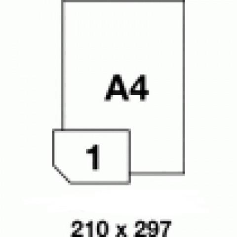 Etichete PET albe mate  - 1 buc./A4, dimensiune 210X297 mm